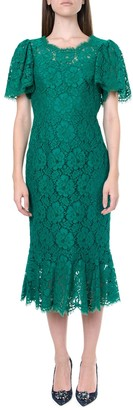 Dolce & Gabbana Green Lace Midi Dress