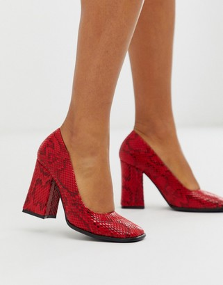 Truffle Collection square toe block heeled shoe in red snake