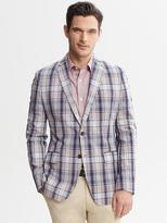 Banana Republic Mad Men® Collection Tailored Brown Plaid Cotton Two-Button Sportcoat