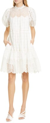 Ulla Johnson Simone Puff Sleeve Eyelet Shift Dress