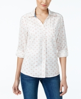 Style&Co. Style & Co Style & Co Petite Cotton Printed Shirt, Created for Macy's