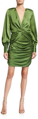 Jay Godfrey Lyla Twist-Front Shirred Mini Satin Dress