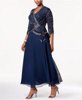 J Kara Plus-Size Embellished V-Neck Gown