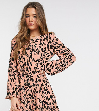 ASOS DESIGN Tall floaty romper with godet inserts in smudged animal print