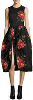 Simone Rocha Floral Sleeveless Knot-Skirt Dress, Black/Red