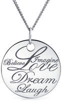 Bling Jewelry Sterling Silver Dreamy Words Disc Pendant Necklace