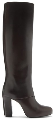 Lemaire Panelled Leather Knee-high Boots - Dark Brown