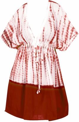 LA LEELA Ladies Hand Tie-Dye Beach Wraps and Cover ups Women's Bohemia Beach Dress Short Sleeves Boho Drawstring Swimwear for Holiday Beachwear Cotton Bikini Loose Bathing Suit Blood Red_Y462