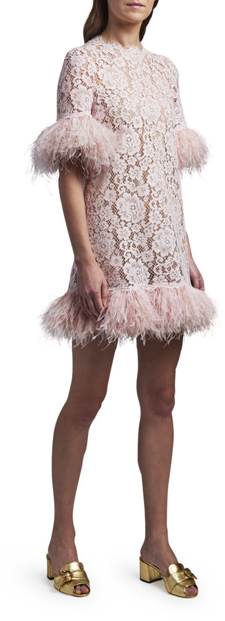 Thumbnail for your product : Dolce & Gabbana Feather-Trim Lace Short-Sleeve Dress