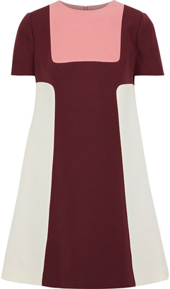 Valentino Color-block Wool And Silk-blend Cady Mini Dress