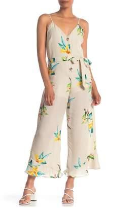 ONE ONE SIX V-Neck Floral Print Stripe Waist Tie Jumpsuit