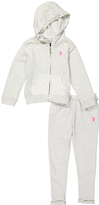 U.S. Polo Assn. Light Heather Gray Zip-Up Hoodie & Pants - Infant & Toddler