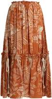 See by Chloe Frill-trimmed jungle-print cotton-blend skirt