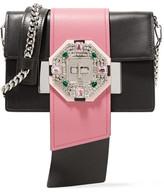 Prada Ribbon Crystal-embellished Leather Shoulder Bag - Black