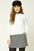 Forever 21 FOREVER 21+ Chevron-Patterned Wool-Blend Skirt