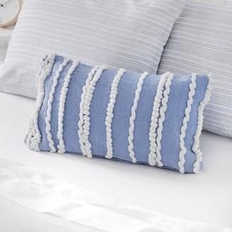 Martha Stewart Bryce Cotton Throw Pillow Cover Color: Powder Blue