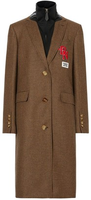 Burberry Track Top Detail Houndstooth Check Tailored Coat