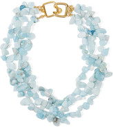 Kenneth Jay Lane Gold-plated Beaded Necklace - Sky blue
