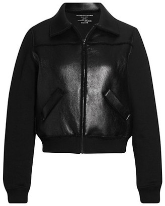 Majestic Filatures Metallic Zip-Front Leather Bomber Jacket