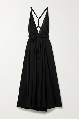 CARAVANA Hera Leather-trimmed Cotton-gauze Halterneck Maxi Dress - Black