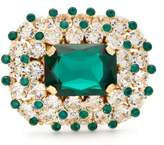 Dolce & Gabbana Glass Crystal-encrusted Metal Ring - Womens - Green