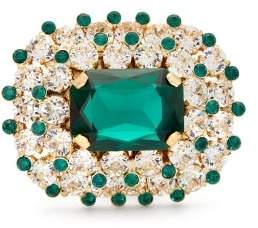 Dolce & Gabbana Glass Crystal Encrusted Metal Ring - Womens - Green