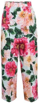 Dolce & Gabbana Floral cotton poplin straight pants