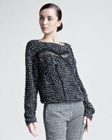Nina Ricci Lace-Inset Tweed Pullover
