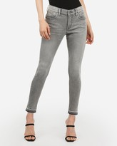 Express Mid Rise Denim Perfect Curves Lift Gray Raw Hem Ankle Leggings