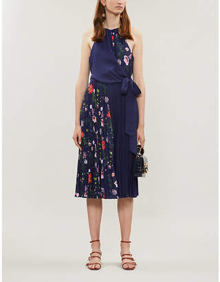 Ted Baker Pritee pleated floral crepe dress