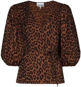 Ganni Leopard-Print Wrap Blouse