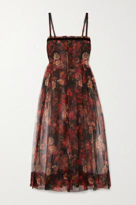 Molly Goddard Trino Velvet-trimmed Pleated Floral-print Tulle Midi Dress - Black