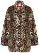 Sandy Liang - Quincy Faux Shearling-trimmed Leopard-print Faux Fur Coat - Dark brown