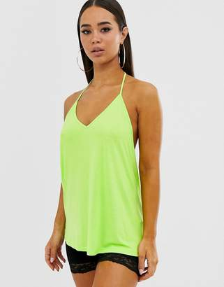 Asos Design DESIGN cami with dropped arm hole in green