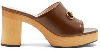 Gucci Houdan Horsebit Leather Platform Mules - Dark Brown