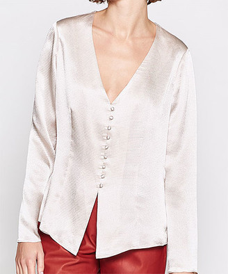 Joie Women's Blouses SHIMMER - White Shimmer Madora Button-Front Top - Women & Petite