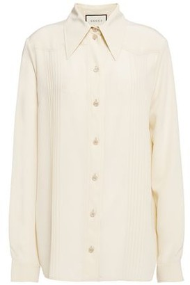 Gucci Pintucked Silk Crepe De Chine Shirt