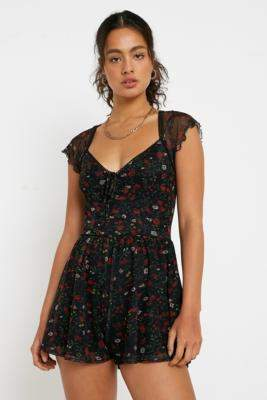 Urban Outfitters Milly Floral Playsuit - black XS at