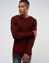 Asos Longline Muscle Fit Ribbed Sweater