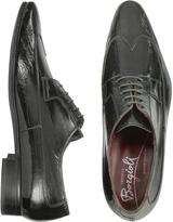 Fratelli Borgioli Handmade Black Eel Leather Wingtip Dress Shoes