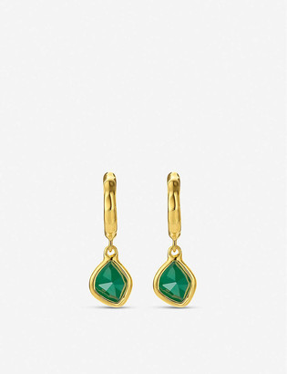 Monica Vinader Siren Mini Nugget 18ct gold vermeil and green quartz hoop earrings