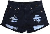 Excess Baggage Women's High Rise Black Destroyed Wrangler's Ripped Cut-Off Shorts-XXXL
