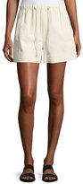 Helmut Lang Drawstring Pull-On Cotton Shorts, White
