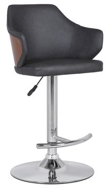 Armen Living Aaron Mid-Century Adjustable Barstool in Chrome Finish with Grey Faux Leather and Walnut Wood Finish Back