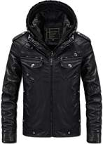 Chickle Men's Winter Motorcycle Coat Faux Leather Biker Jacket with Hood Black