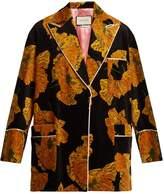 Gucci Poppy-print piped-edge velvet jacket
