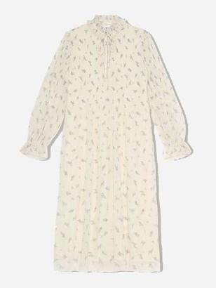 Ganni Georgette Pleated Egret Midi Dress - 34