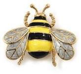 Avalaya Yellow/Black Enamel Bee Brooch In Gold Plated Metal - 4cm Length