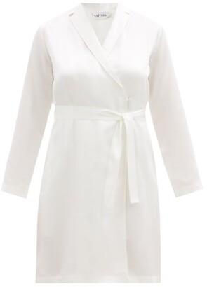 La Perla Belted Short Silk Robe - Ivory