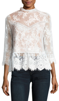 Tracy Reese Victorian 3/4 Sleeve Lace Top